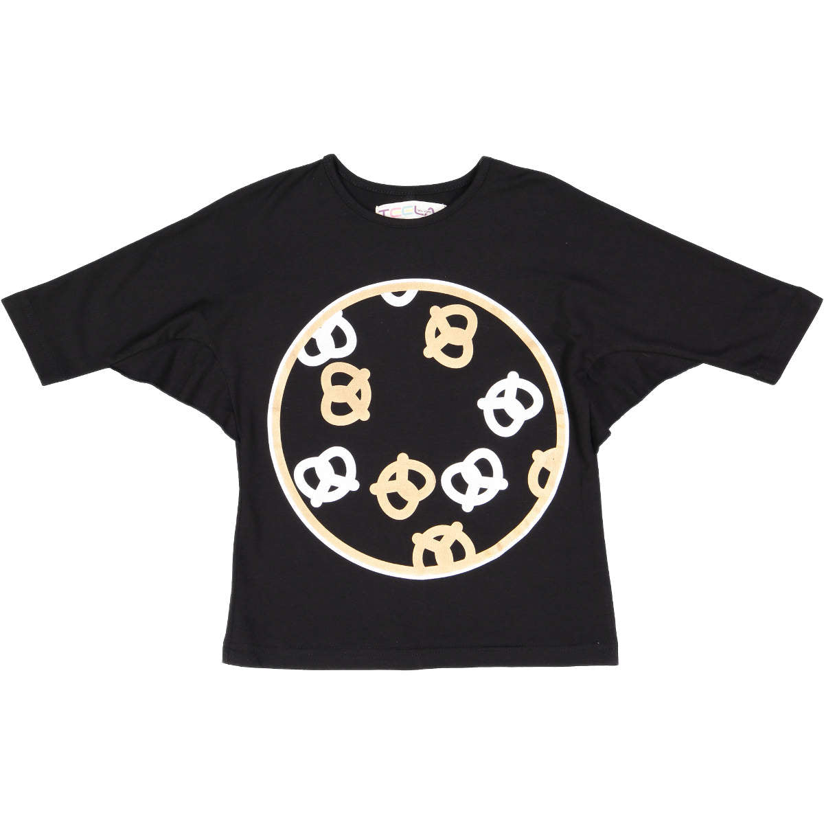 Teela Girls' Black Pretzel Print Tee