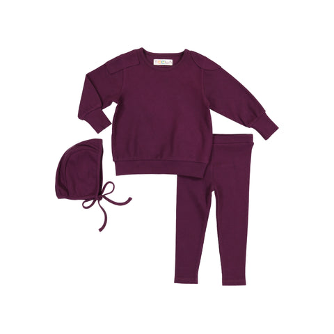 Teela Plum Ribbed Baby Set