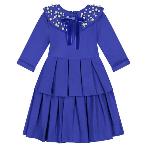 Teela Royal Blue Circle Dress with Double Peplum