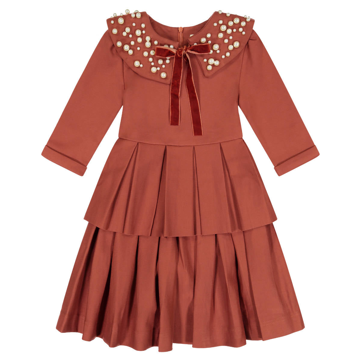 Teela Rust Orange Circle Dress with Double Peplum