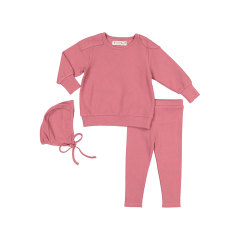 Teela Salmon Ribbed Baby Set