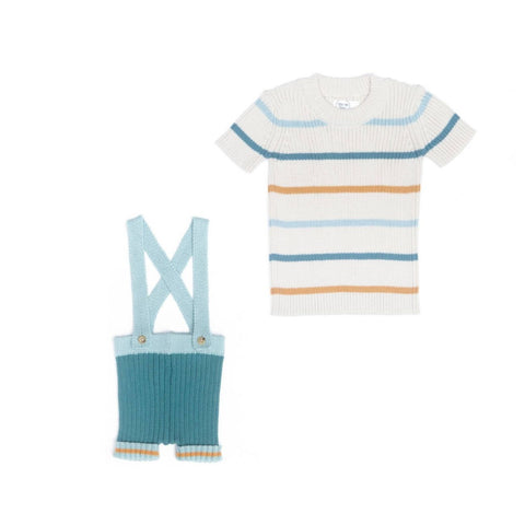Tun Tun Green Striped Suspender Knitted Set