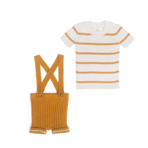 Tun Tun Mustard Striped Suspender Knitted Set