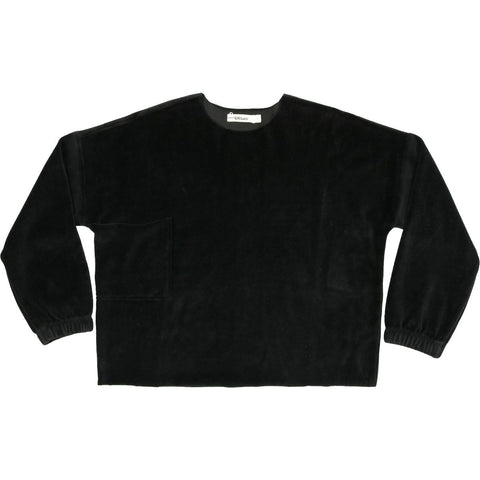 Urbani Black Velour Oversized Top