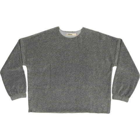 Urbani Grey Velour Oversized Top