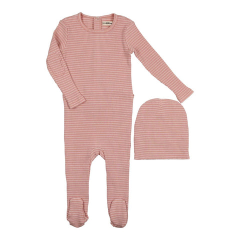 Urbani Mauve Striped Footie Set