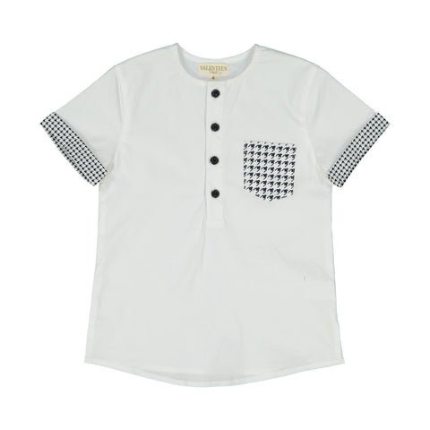 Valenteen Boys' Navy and White Houndstooth Shirt
