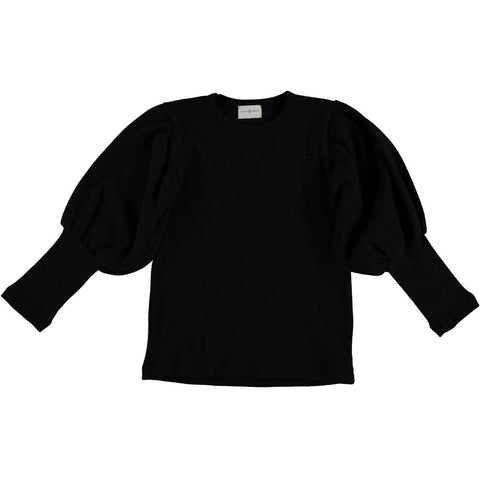 Violeta Black Drop Puff Sleeve Sweater