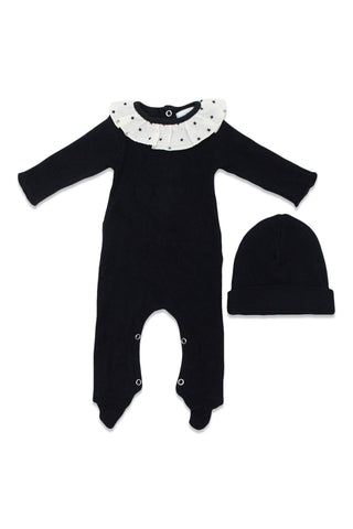 Violeta Black Star Ruffle Collar Footie & Hat