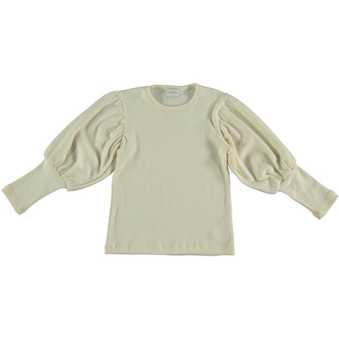 Violeta Ivory Drop Puff Sleeve Sweater