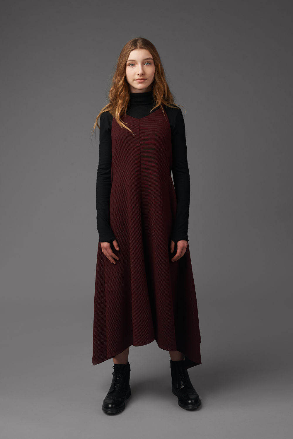 Zaikamoya Burgandy Ribbed Jumper
