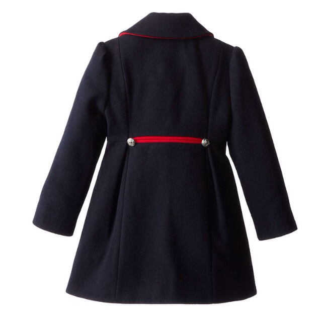 Rothschild Navy Faux Wool Petal Front Military Coat With Hat - Young Timers Boutique  - 2