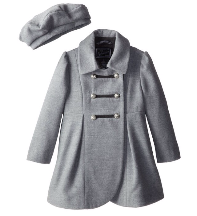 Rothschild Pale Grey Faux Wool Petal Front Military Coat With Hat - Young Timers Boutique  - 1