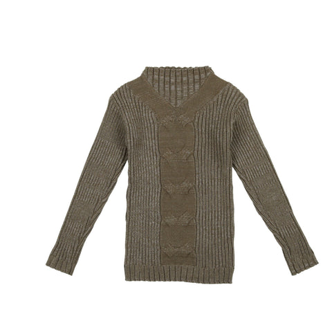 Belati Olive Ribbed Center Contrast Knit Sweater