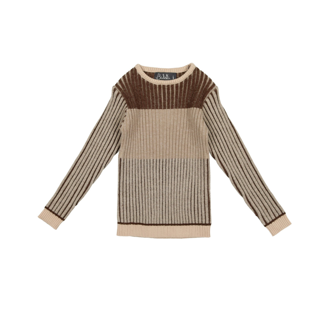 Belati Brown Multicolored Horizontal Striped Knit Sweater