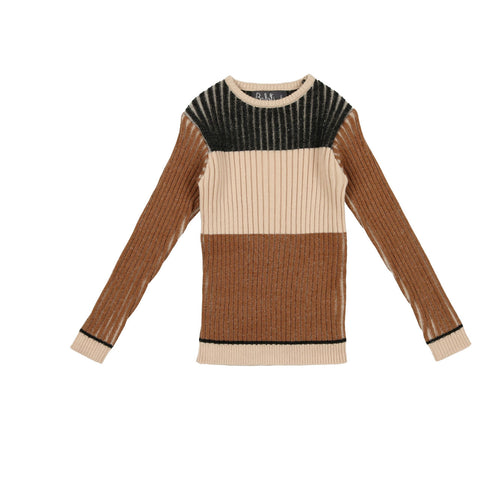 Belati Camel Multicolored Horizontal Striped Knit Sweater