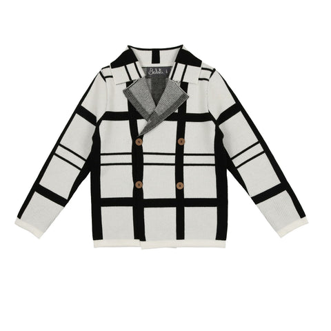 Belati Black Plaid Knitted Blazer