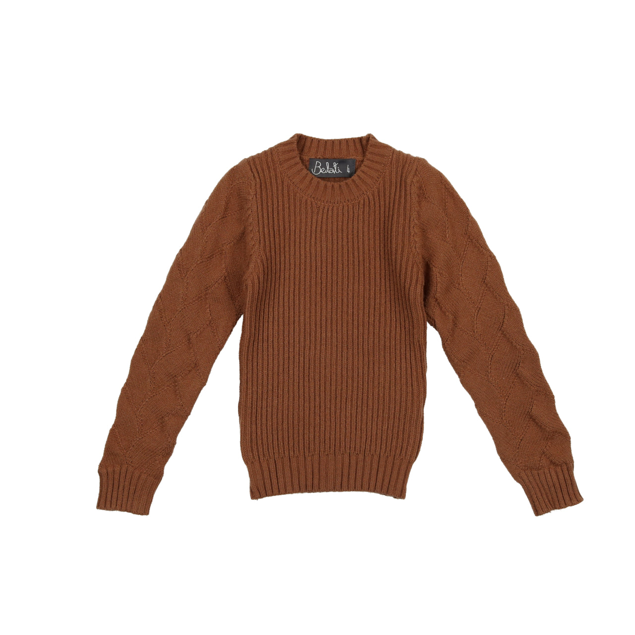 Belati Camel Textured Sleeve Knit Sweater