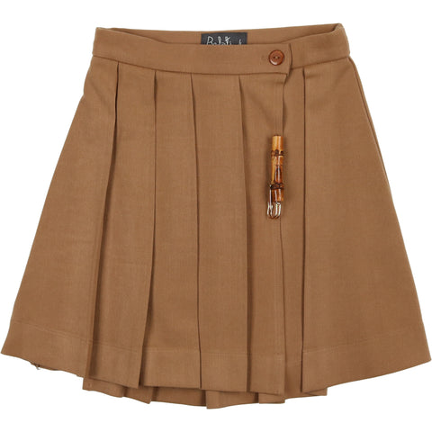 Belati Camel Pleated Skirt