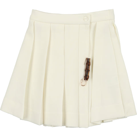 Belati Ivory Pleated Skirt
