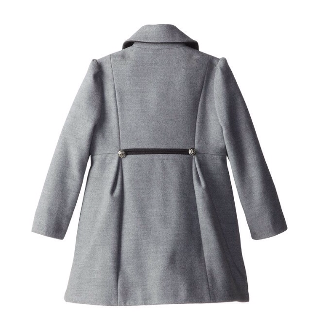 Rothschild Pale Grey Faux Wool Petal Front Military Coat With Hat - Young Timers Boutique  - 2