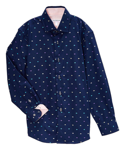 Isaac Mizrahi Boys Cotton Dot Dress Shirt