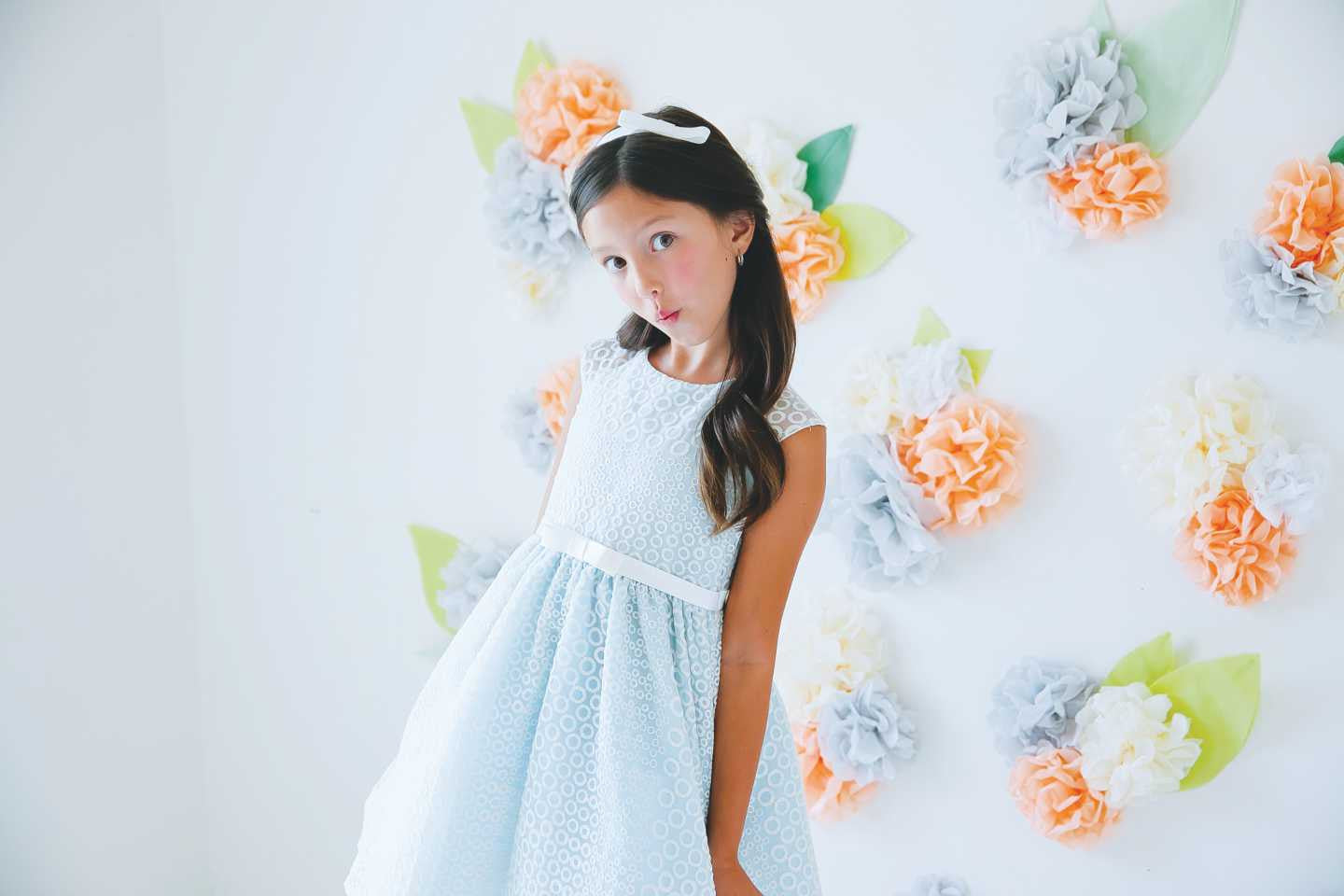 Sweet Kids Circle Embroidered Organza Dress - SK555 - Peach - Young Timers Boutique  - 2