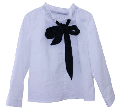 Meme Girls' Velvet Tie Blouse