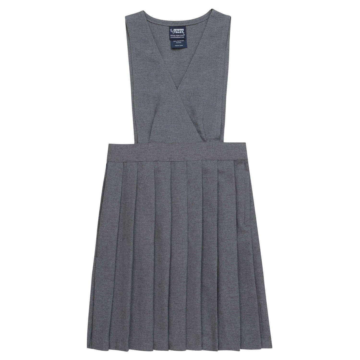 French Toast Grey V-Neck Pleated Jumper - Young Timers Boutique  - 1