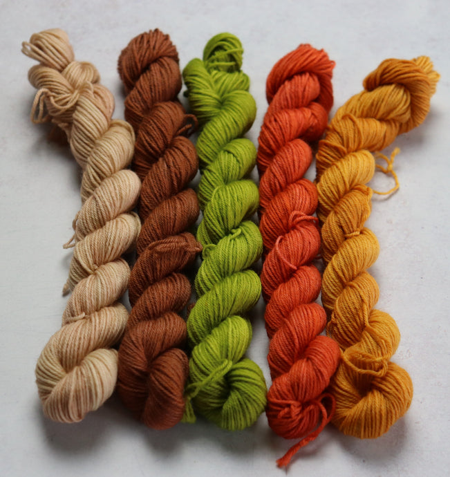 green/brown mini skein set sock/4ply