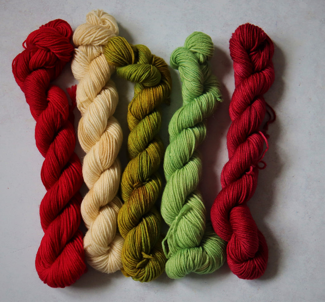 Mixed greens and reds mini skein set sock/4ply