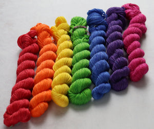 Rainbow mini skein set merino/bamboo/silk sock/4ply