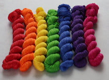 Load image into Gallery viewer, Rainbow mini skein set merino/bamboo/silk sock/4ply