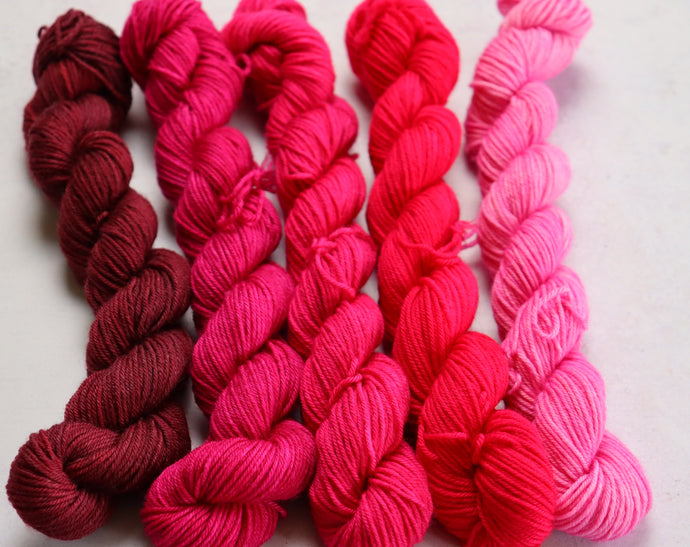 Pink, set 2.  mini skein set sock/4ply