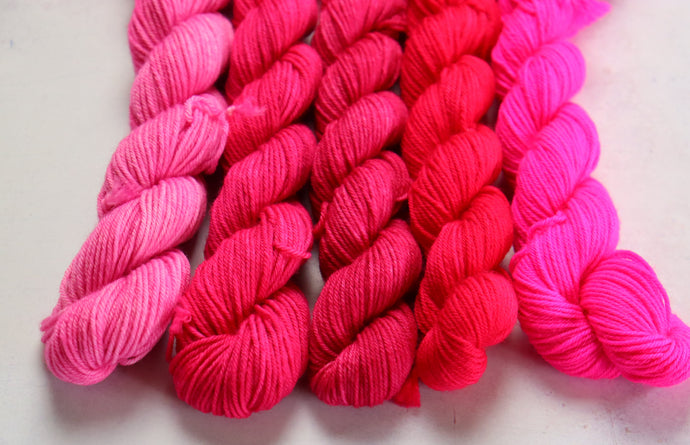 Pink, set 3.  mini skein set sock/4ply