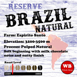 Brazil Natural Reserve Espirito Santo Region Single Origin Coffee Beans