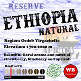 Ethiopia Natural Reserve Gadeb Yirgacheffe Single Origin Organic Coffee Beans