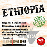 Ethiopian Yirgacheffe Single Origin Fair Trade Organic Coffee Beans