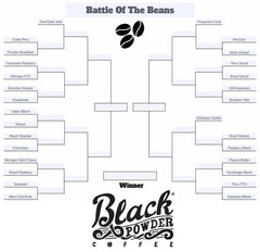 What is your favorite coffee beans?  Black Powder Style with a little march madness inspiration.