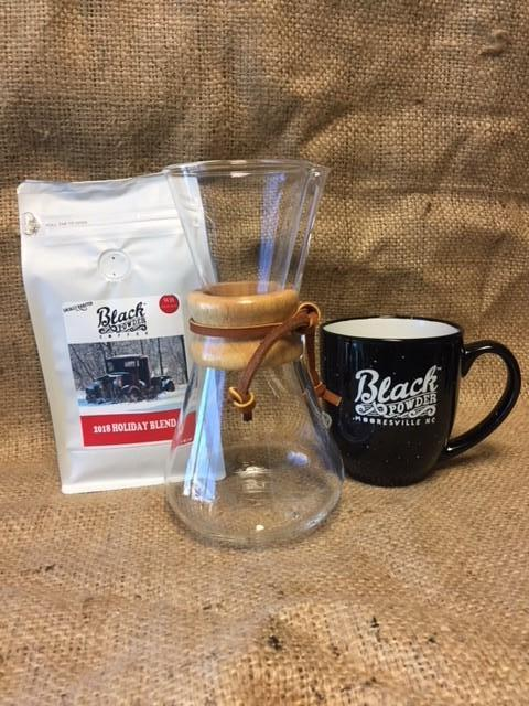 Chemex, Holiday Blend Coffee and Black Powder Coffee Mug Gift Bundle