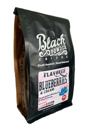 Blueberries and cream flavored coffee