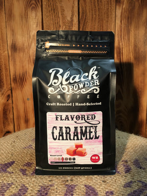 Caramel flavored local roasted coffee
