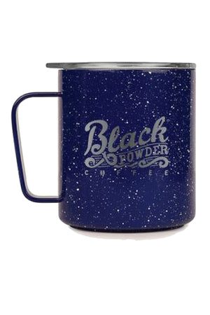 Drink coffee from a black powder coffee camp mug from MIIR brand