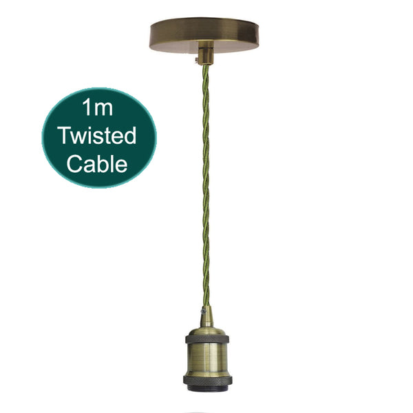 1m Army Green Twisted Cable E27 Base Green Brass Holder
