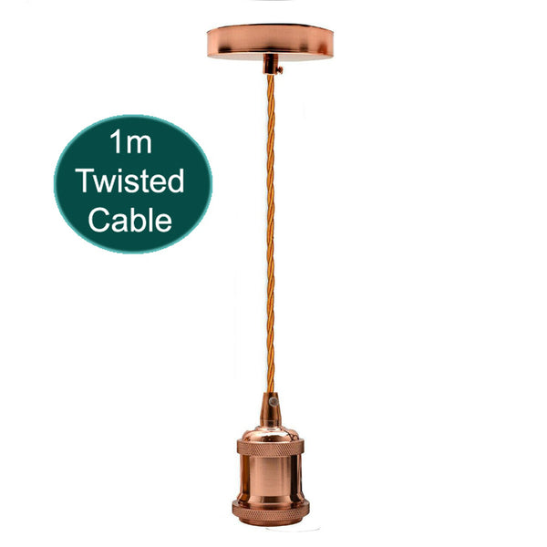 1m Rose Gold Twisted Cable E27 Base Rose Gold Holder