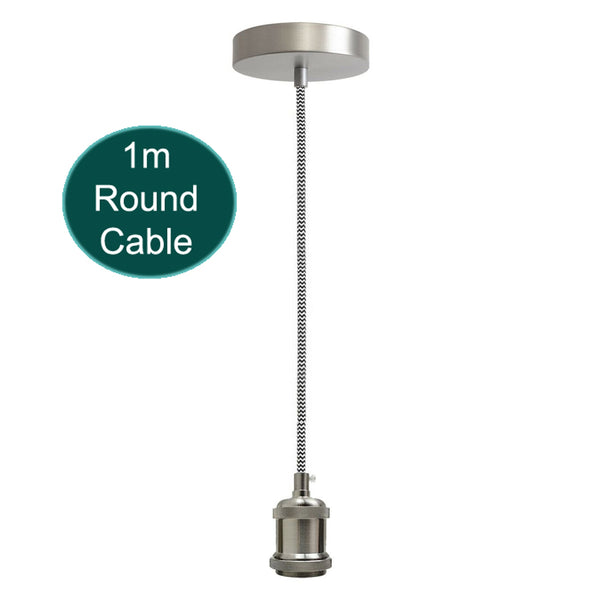 1m Black & White Round Cable With Satin Nickel Pendant Holder