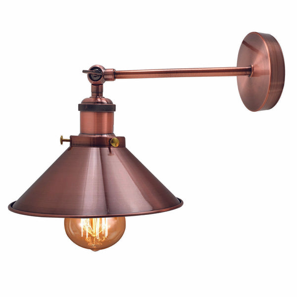 Wall Light Copper Mounted Modern Industrial Shade Sconce Adjust Lamps