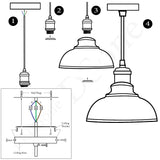 3 Pack Vintage Industrial Retro Ceiling Pendant Light Lampshade Black Metal Light Shade