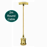 2m Gold Round Cable E27 Base French Gold Holder