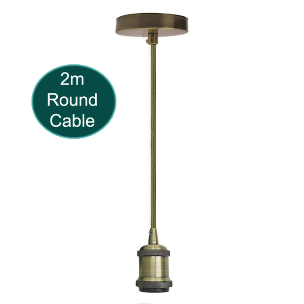 2m Army Green Round Cable E27 Base Green Brass